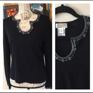 Talbots Beaded Embellished Black Pullover Sweater